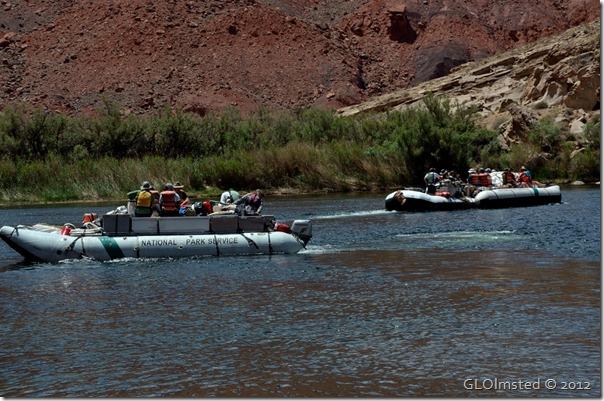 03e NPS boats on CO R leaving Lee's Ferry AZ