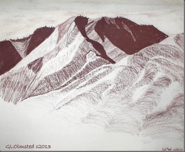 Conte drawing of mountains Wenatchee WA
