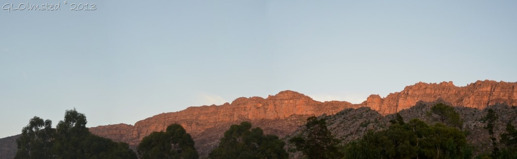 Sunrise on mts from Rodene Farm Cottage Ceres SA
