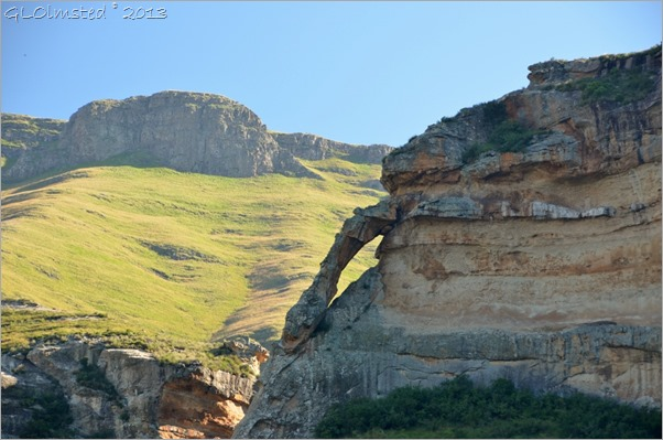 View with arch from Echo Ravine trail Golden Gate Highlands National Park South Africa