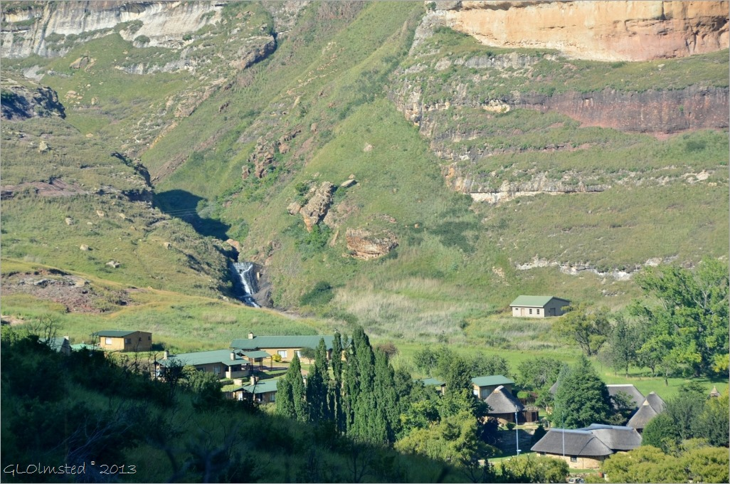 View of waterfall behind Reception from Echo Ravine trail Golden Gate Highlands National Park South Africa