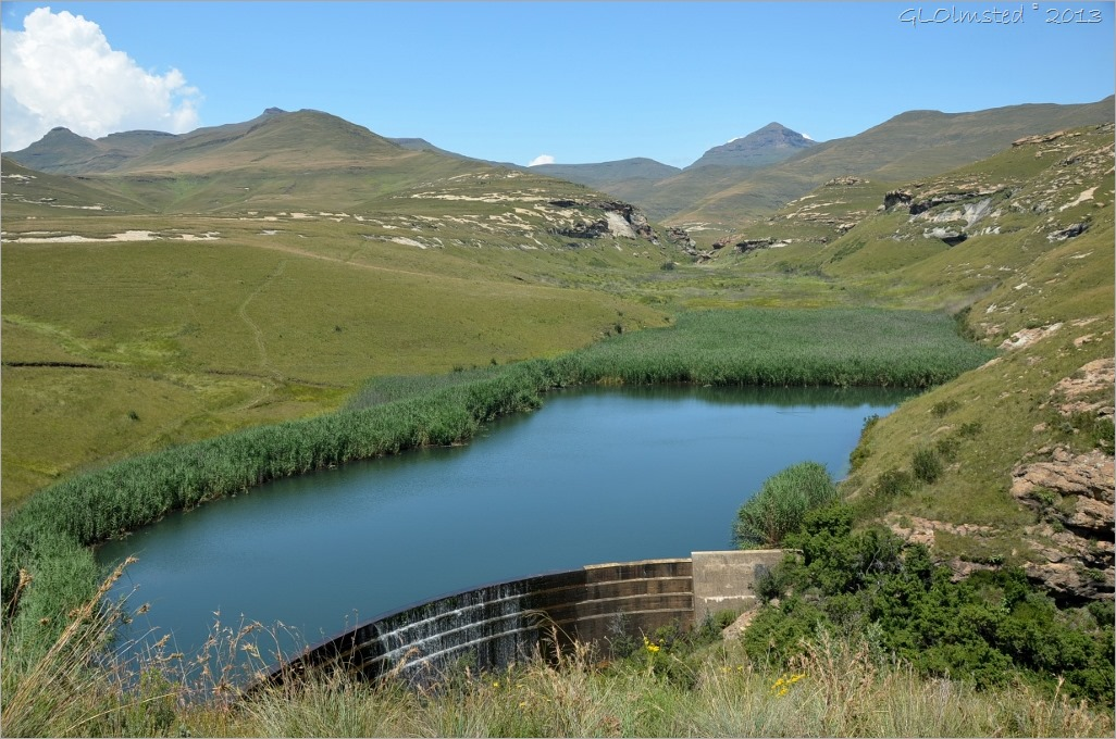 Langtoon Dam above waterfall from loop drive Golden Gate Highlands National Park South Africa