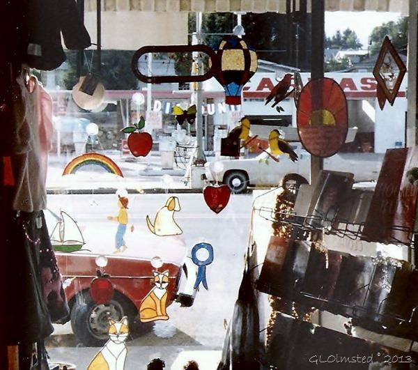 Stained glass in store window Tonasket Washington 1983