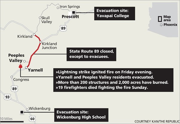 map area around Yarnell Hill Fire from azcentral