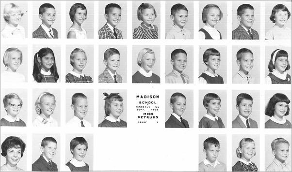 third grade class photo Madison School September 1962 Hinsdale Illinois