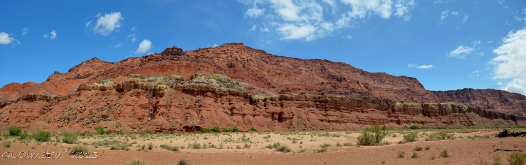 Stone cliffs along the Paria River from Lonely Dell Ranch Lees Ferry Arizona