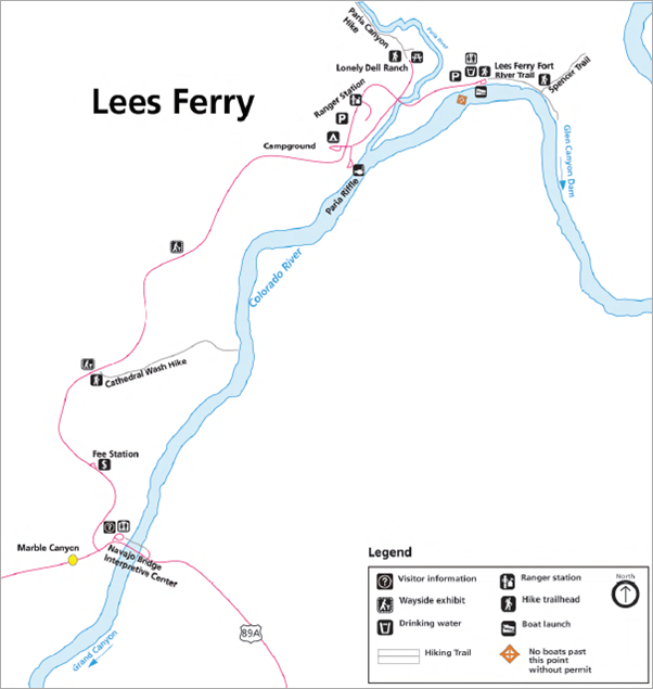 Map of Lees Ferry area