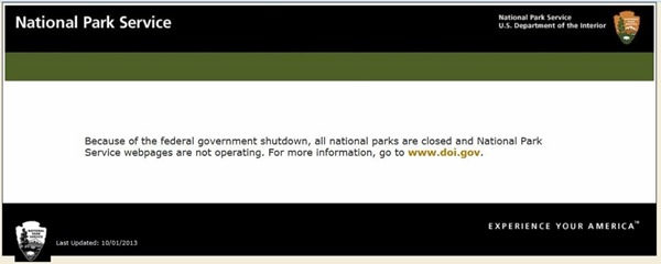 National Park Service websites closed