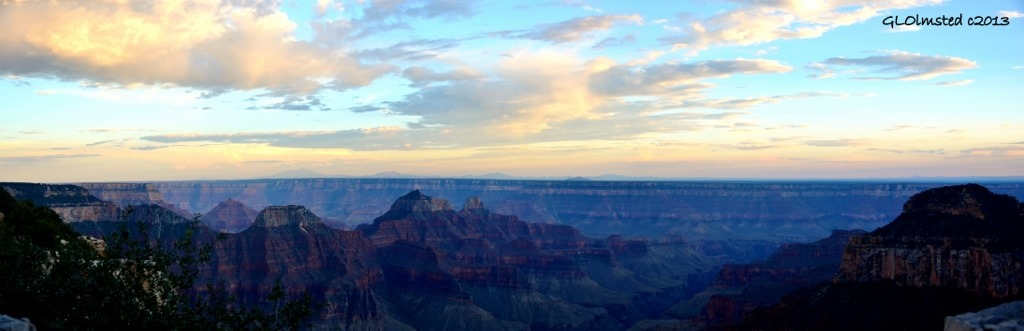 Sunset reflected off clouds above temples from Grand Lodge North Rim Grand Canyon National Park Arizona