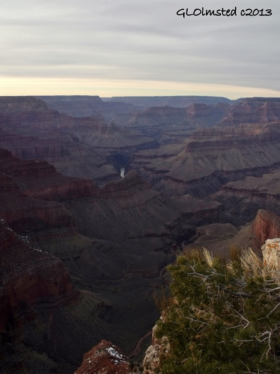 Last light view NW & Colorado River from Hermit Road South Rim Grand Canyon National Park Arizona