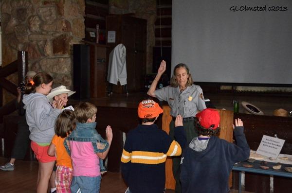 Ranger Gaelyn swearing in Junior Rangers North Rim Grand Canyon National Par Arizona