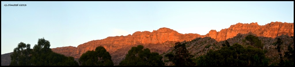 Sunrise on mountains from Rodene Farm Cottage Ceres South Africa
