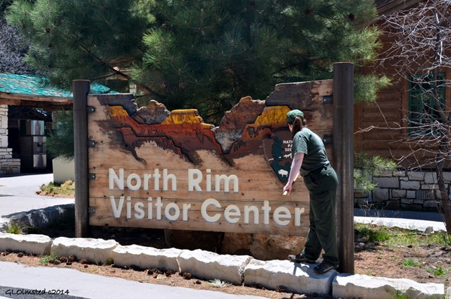 Cleaning sign North Rim Grand Canyon National Park Arizona