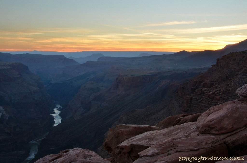 Sunset over canyon and Coloardo River from Toroweap Grand Canyon National Park Arizona