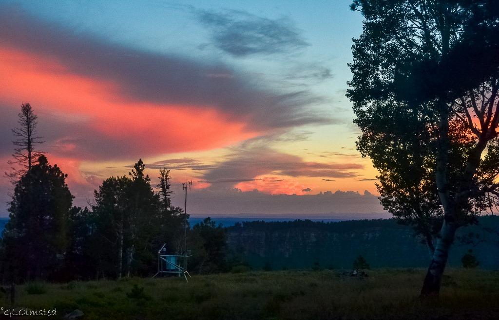 Sunset thru RV window North Rim Grand Canyon National Park Arizona