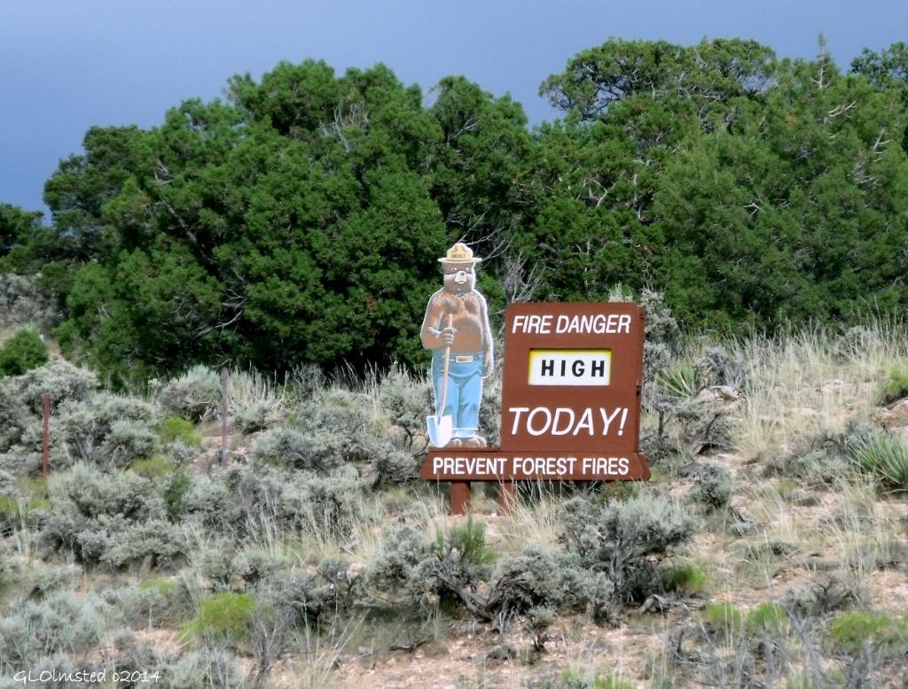 Smokey Bear sign Hwy 89A Kaibab National Forest Arizona