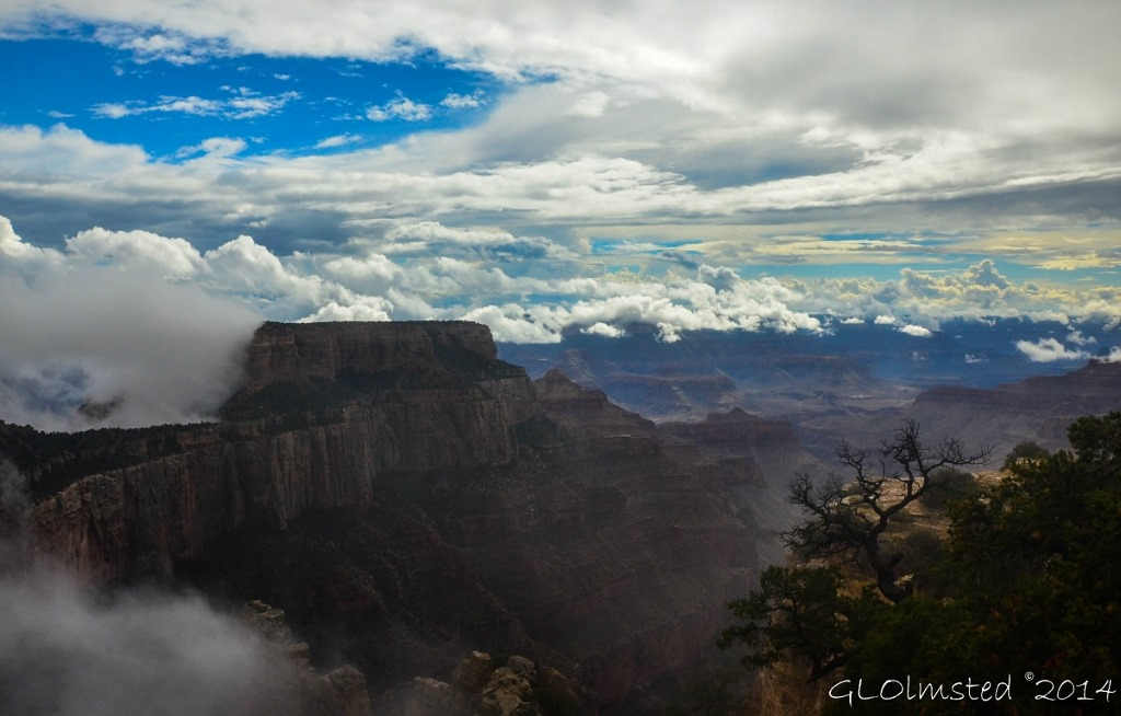 Clouds around Wotans Throne Cape Royal North Rim Grand Canyon National Park Arizona