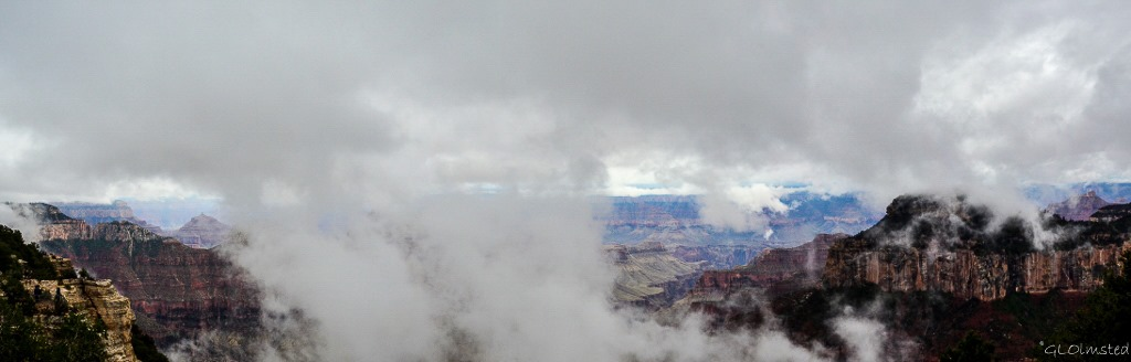 Fog & clouds around temples North Rim Grand Canyon National Park Arizona
