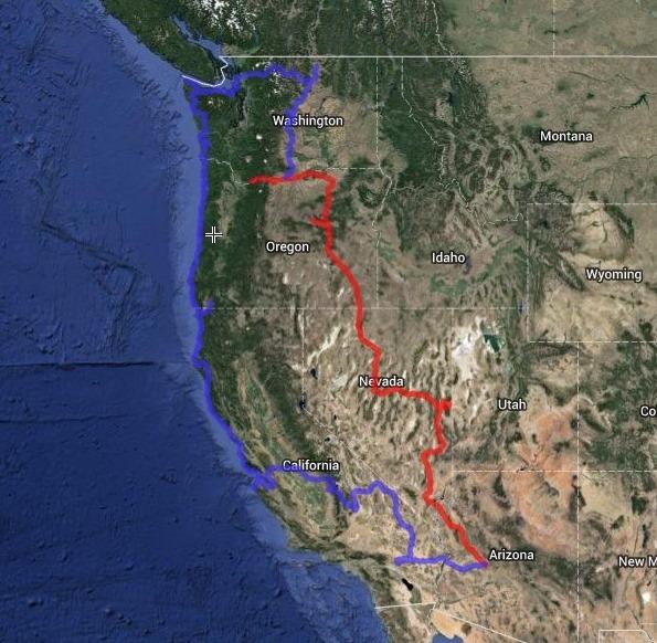 Map of tentative road trip