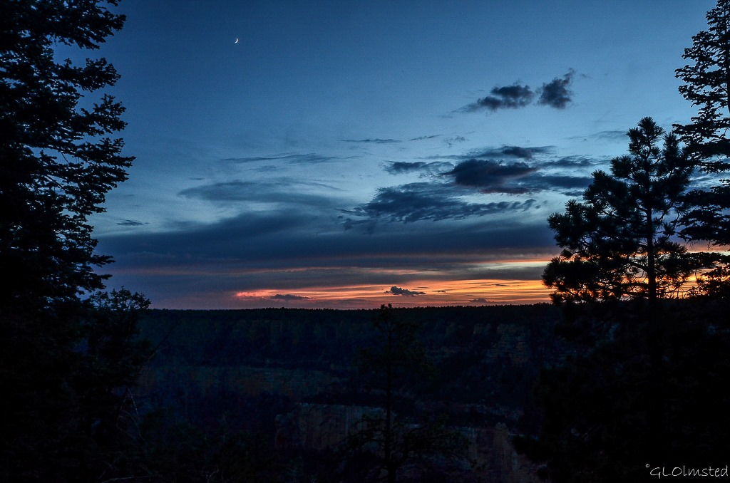 Sunset and crescent moon North Rim Grand Canyon National Park Arizona