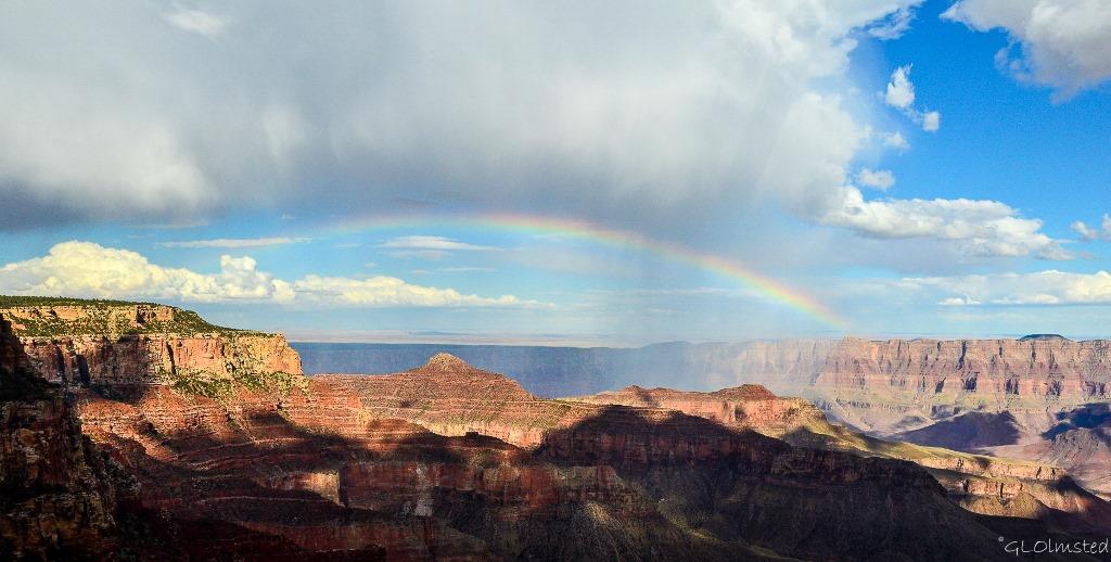Rainbow spans canyon from Walhalla Plateau North Rim Grand Canyon National Park Arizona
