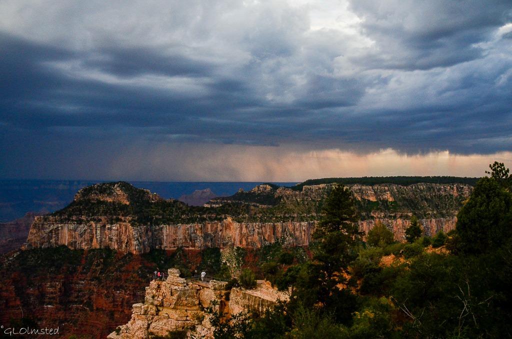 Virga at sunset from Lodge North Rim Grand Canyon National Park Arizona