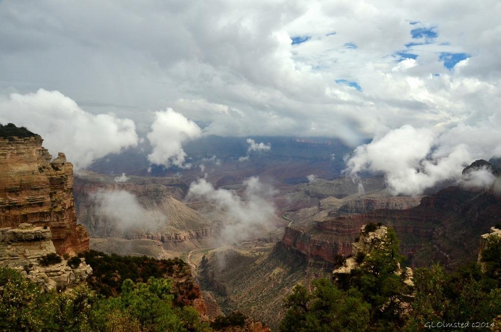 Clouds opening Walhalla Plateau North Rim Grand Canyon National Park Arizona