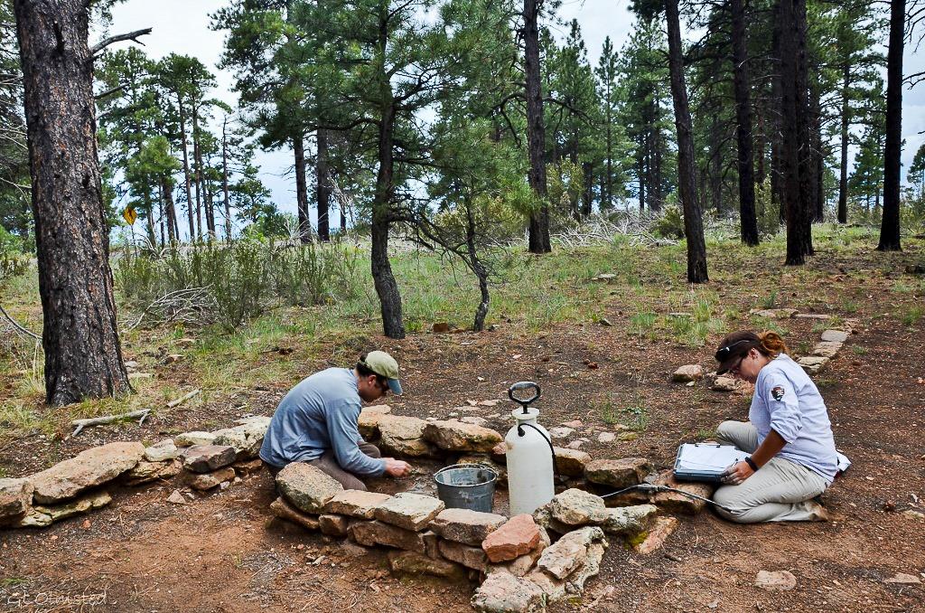 Archeologists stabalize walls at Walhalla Glades North Rim Grand Canyon National Park Arizona