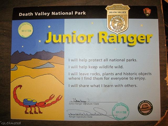 Death Valley Junior Ranger certificate & badge
