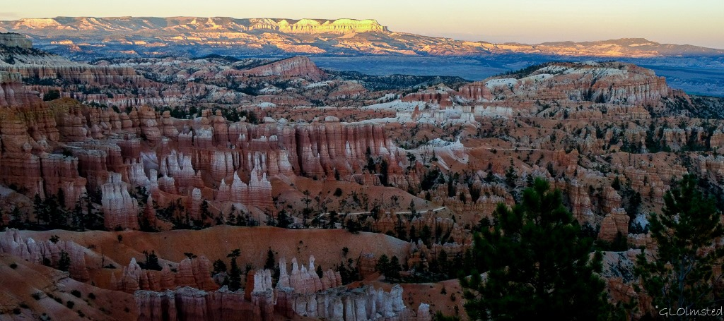 Sunset Hoodoos and beyond from Bryce Point Bryce Canyon National Park Utah