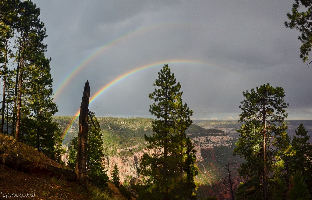 Double rainbow Roaring Springs Canyon North Rim Grand Canyon National Park Arizona