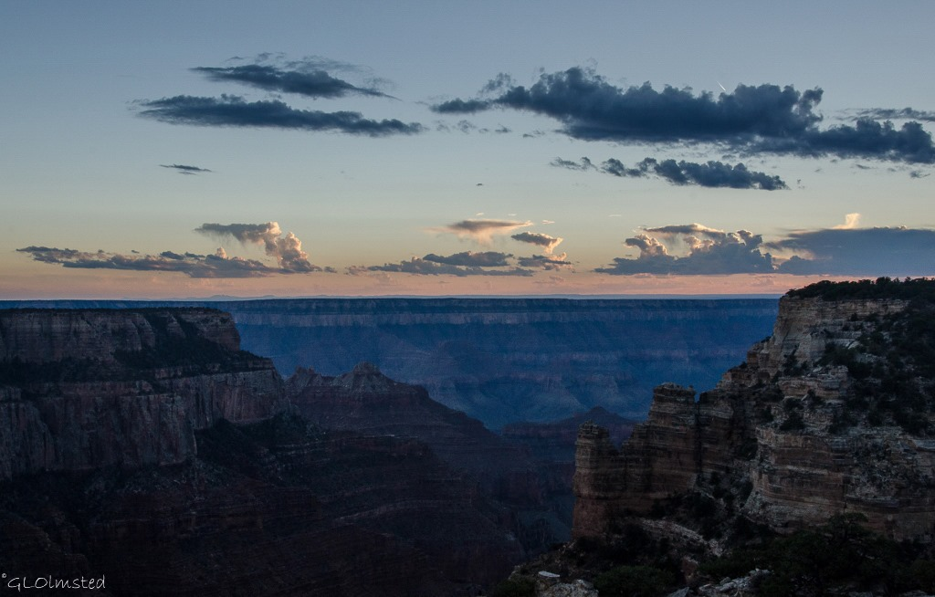 Sunset over South Rim from from Cape Royal North Rim Grand Canyon National Park Arizona