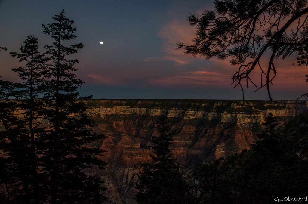 Moon and sunset colors over Walhalla Plateau North Rim Grand Canyon National Park Arizona