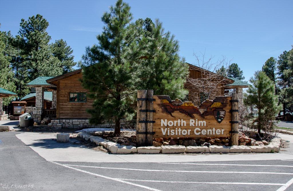 Visitor Center and sign North Rim Grand Canyon National Park Arizona