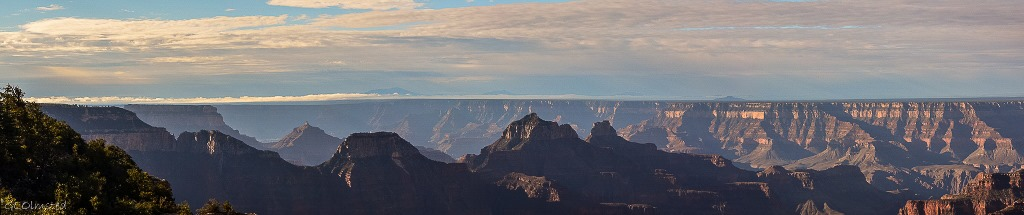 Morning light on temples from Lodge North Rim Grand Canyon National Park Arizona