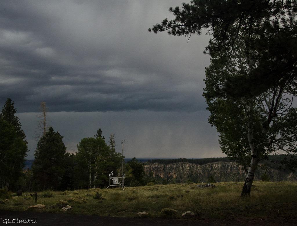 Stormy sky thru RV window North Rim Grand Canyon National Park Arizona