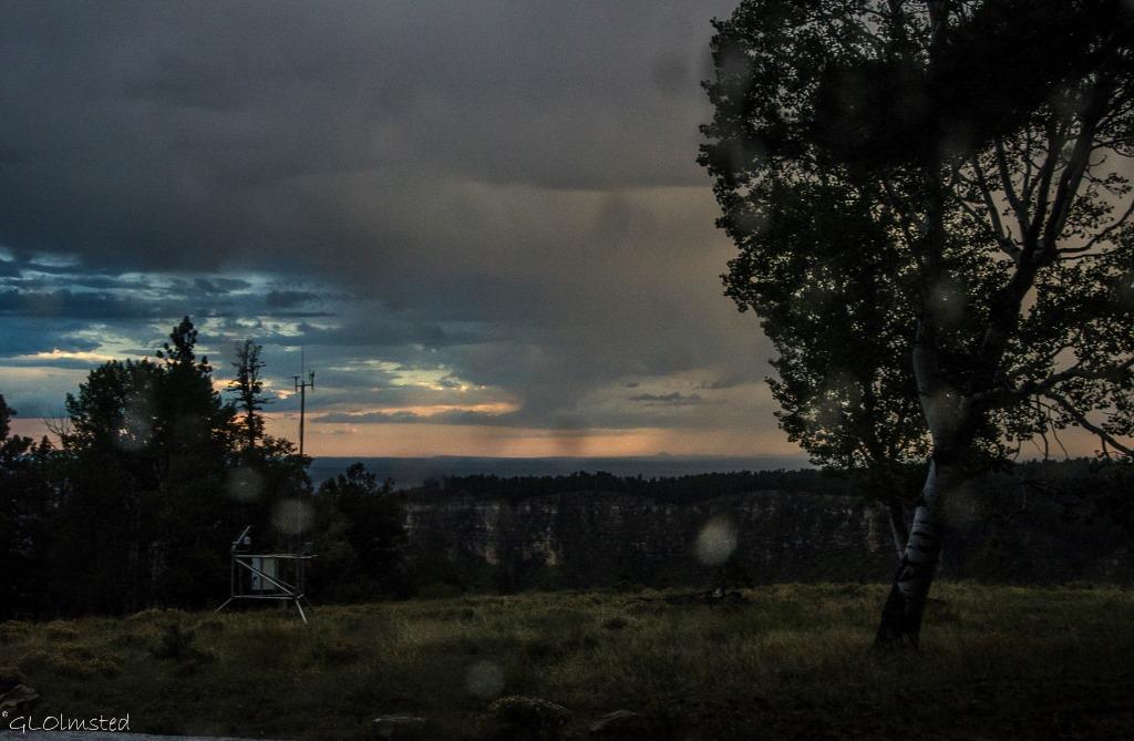 Sunset stormy sky thru RV window North Rim Grand Canyon National Park Arizona