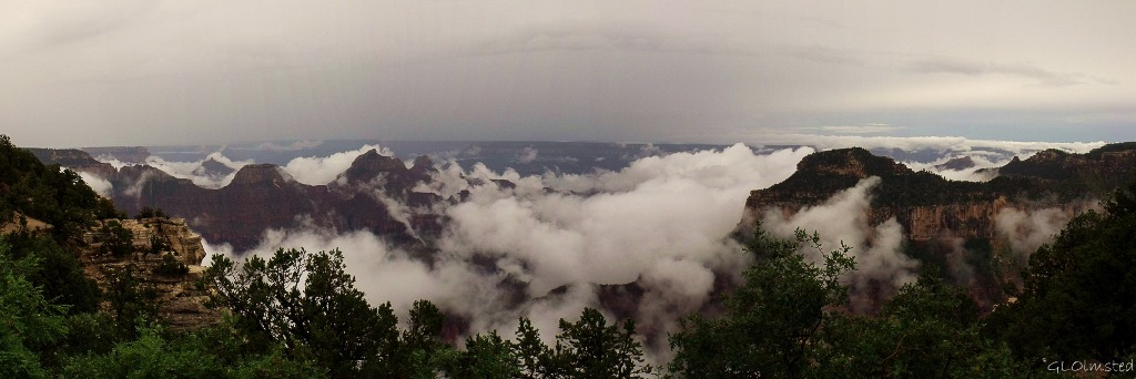 Clouds in canyon & temples & Widforss Plateau from from Bright Angel Point North Rim Grand Canyon National Park Arizona