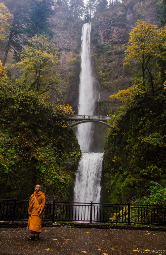 Monk by Multnomah Falls Columbia River Gorge Oregon