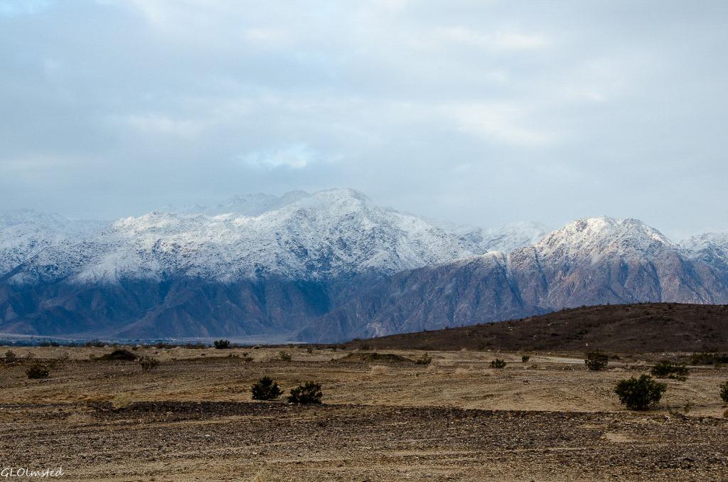 Snow capped Vallecito Mts Anza-Borrego Desert State Park California