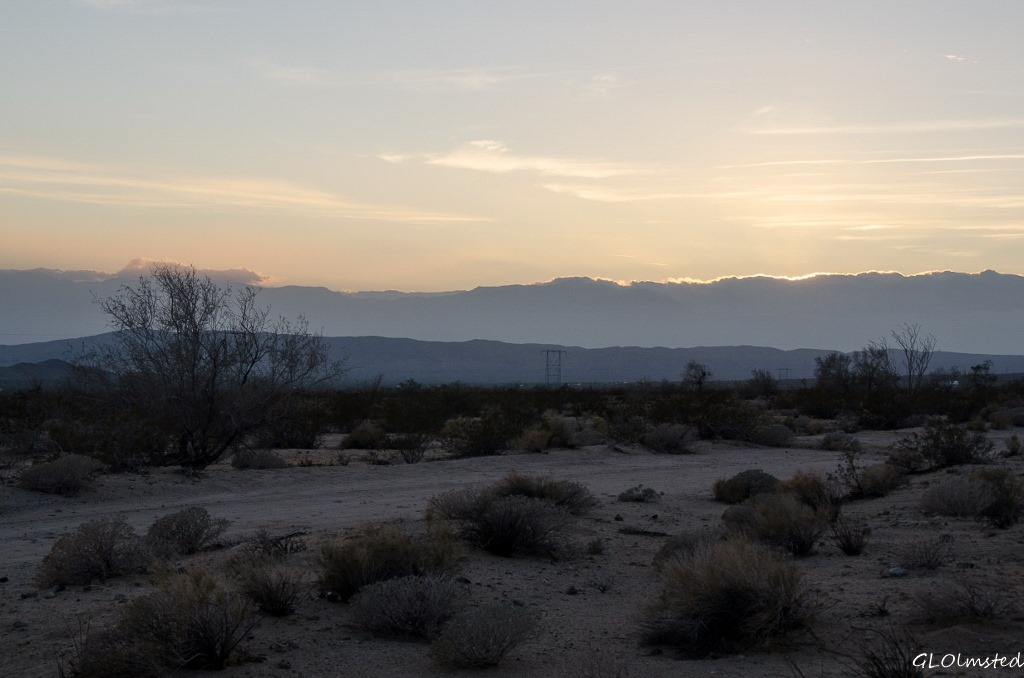 Sunset view from camp Cottonwood Springs Road BLM California