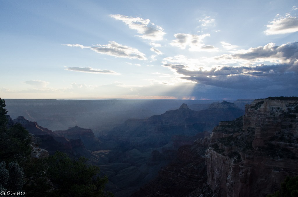Sunset rays on Zoroaster & Brahma temples from Cape Royal North Rim Grand Canyon National Park Arizona