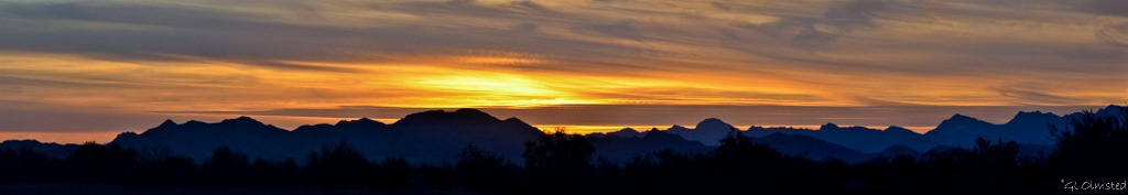 Sunset Dome Rock Mountains Plamosa Road BLM Quartzsite Arizona