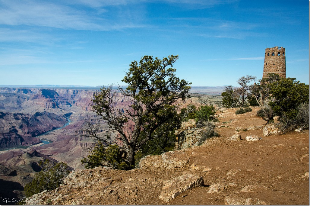 Colorado River & Desert View Watchtower South Rim Grand Canyon National Park Arizona