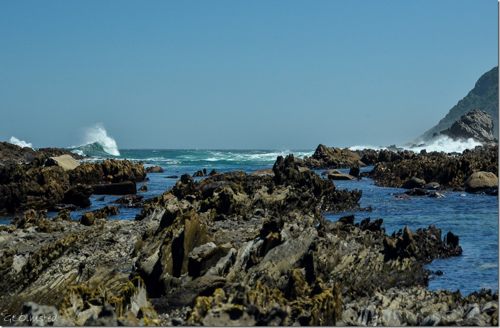 Crashing waves on rocky coast Tsitsikamma National Park South Africa
