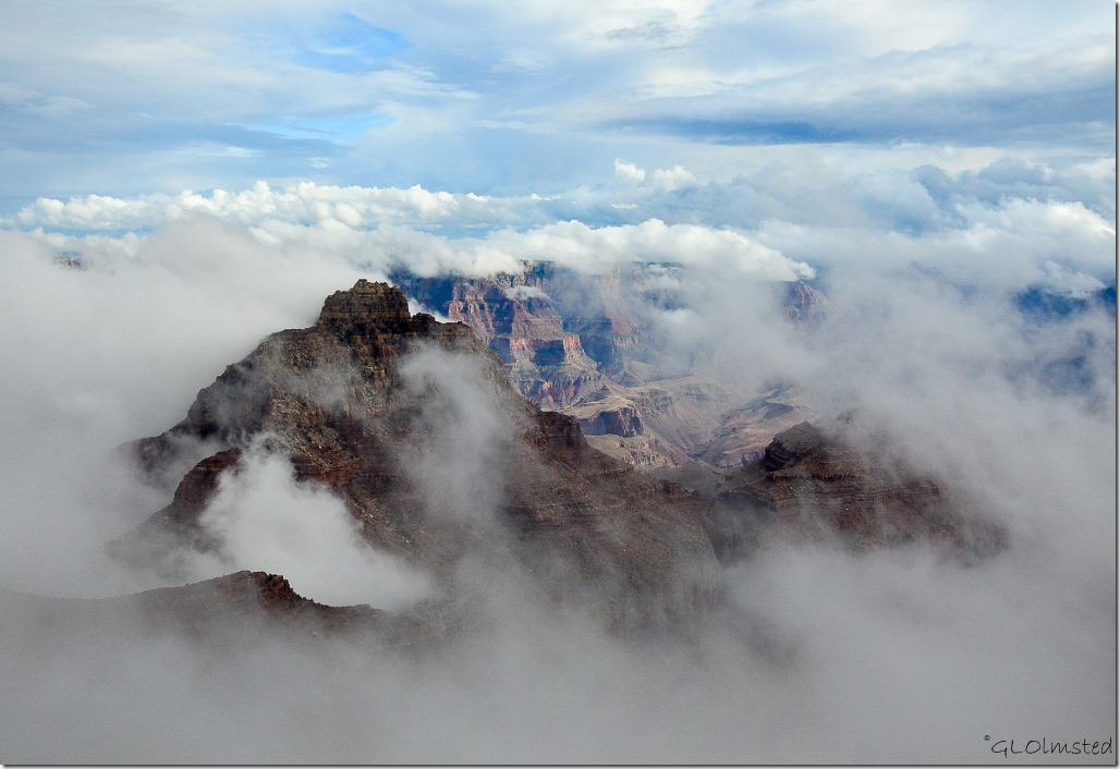 Fog shrouded Vishnu Temple Cape Royal North Rim Grand Canyon National Park Arizona