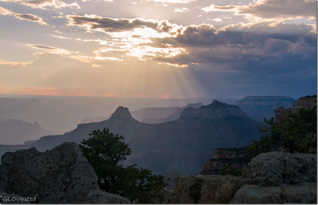 Sun rays over Zoroaster & Brahma temples from Cape Royal North Rim Grand Canyon National Park Arizona