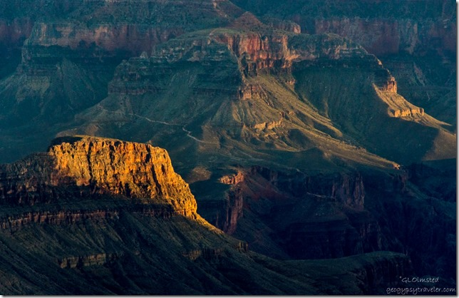 Late light in canyon North Rim Grand Canyon National Park Arizona