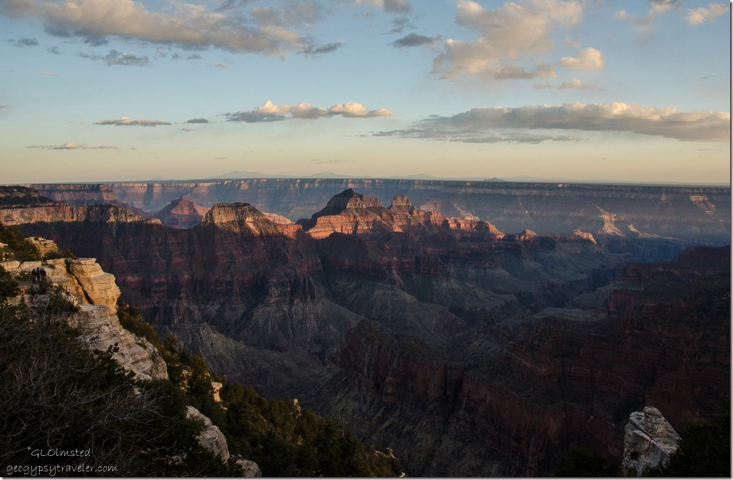 Late light on temples North Rim Grand Canyon National Park Arizona