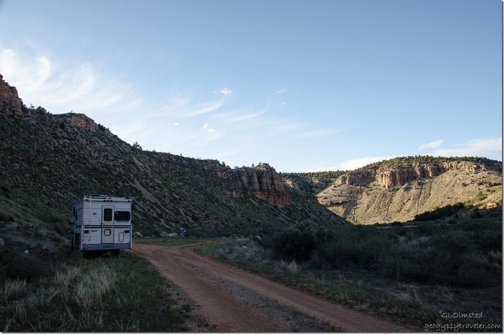 Truck camper Snake Gulch trail head Kaibab National Forest Arizona
